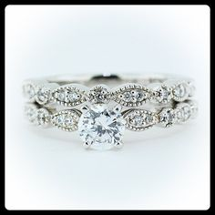 Vintage Wedding Set Moissanite with Diamonds in 14k Gold - Ring Name: Sweet Bliss on Etsy, $1,615.00