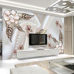 Frete Grátis Pérola flor folha de ouro borboleta amor romântico café do hotel KTV TV fundo papel de parede romântico papel de parede mural(China (Mainland))
