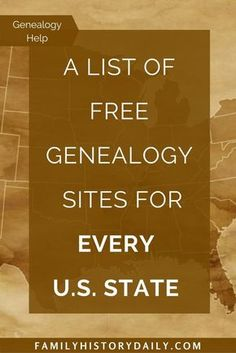 Search for your ancestors on 100+ free state research sites. Genealogy Websites, Free Ancestry Sites, Free Ancestry Search, Free Genealogy Records, Ancestry Dna, Genealogy Search, Genealogy Forms, Genealogy Humor, Genealogy Chart