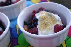 Berries and Peaches with Honey Vanilla Yogurt, from Diabetic Foodie