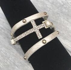 Pearl Faux Leather Crystal Cross Wrap Bracelet