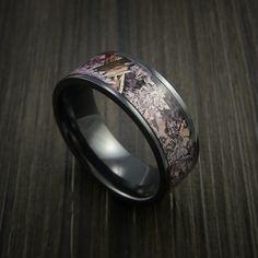 Kings Camo DESERT SHADOW and Black Zirconium Ring Traditional Style Band Made Custom