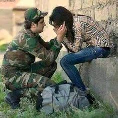 Couple dp for whatsapp Military Girlfriend, Military Love, Army Love, Military Couple Pictures, Couple Dps, Army Couple Photography, Army Times, Indian Army Quotes, Pak Army Soldiers