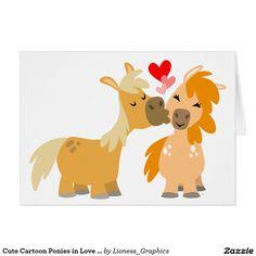 Potros lindos del dibujo animado en tarjeta de fel