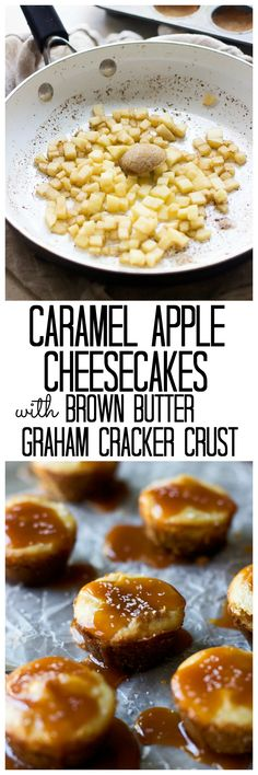 Mini Caramel Apple Cheesecakes with Brown Butter Graham Cracker Crust Mini Caramel Apple Cheesecakes mit brauner Butter Graham Cracker Crust Mini Caramel Apples, Caramel Apple Cheesecake, Just Desserts, Delicious Desserts, Dessert Recipes, Graham Cracker Crust, Graham Crackers, Keep Recipe, Apples And Cheese