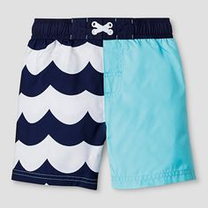 Toddler Boys' Wave Print Swim Trunk Cat & Jack™ - Aqua/Navy : Target