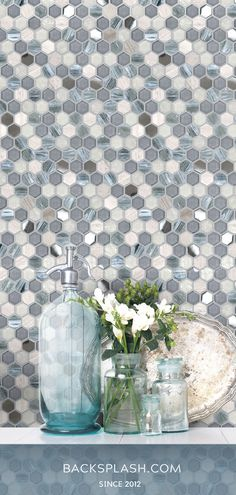 Allow the little blue & gray hexagons to brighten up your interior wall, bathroom focal point or kitchen backsplash. Add elegance and class to your project with this glass and natural stone mix mosaic tile. Glass Kitchen, Kitchen Backsplash, Countertop, Grey Backsplash, Glass Tile Backsplash, Primitive Kitchen, Marble Mosaic, Shabby Chic Kitchen, Glass Marbles