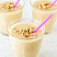 #Peach and #banana #milkshake with almond milk. Frozen peaches are totally fine!