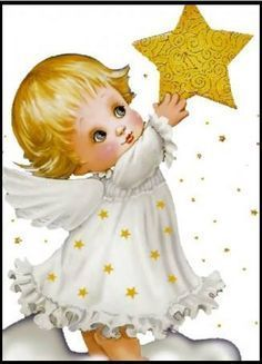 Ruth Morehead - Catch a Fallin' Star! Angel Images, Angel Pictures, Cute Pictures, Christmas Angels, Christmas Art, I Believe In Angels, Angels Among Us, Angel Art, Vintage Christmas Cards