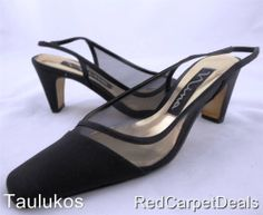 Womens shoes NINA square toe Black Fabric Slingback Heel Pumps Leather sole 7 M