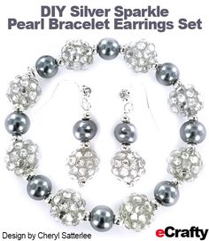 DIY Easy Silver Sparkler Pearls Bracelet & Earrings Set from eCrafty.com. Frugal supply list makes several pairs! #silver #bracelet #gifts #sparkle #crafts #beads #jewelry #diyjewelry #rhinestone #rhinestonejewelry #pearls #pearlbracelet #diy #bracelettutorial #diybracelet #diyearrings #earringtutorial #rhinestones #gray #grey #shadesofgrey #beading #beads #crafting #crafts #ecrafty