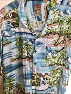 Pineapple Connection Sz 3XB Hawaiian Shirt Aloha Camp Blue Palm Island | eBay
