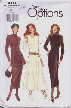 90s Vogue Easy Options Pattern 8811 Womens Fitted by CloesCloset, $8.00