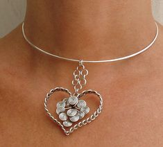 Valentines wire heart Necklace - Braided Little heart with Swirls