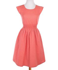 Look what I found on #zulily! Coral Polka Dot Daydream Fit & Flare Dress #zulilyfinds