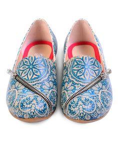 Look what I found on #zulily! Blue & Cream Paisley Zip-Accent Loafer #zulilyfinds