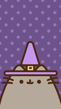 Witch Wallpaper, Halloween Wallpaper Iphone, Cat Wallpaper, Kawaii Wallpaper, Cute Wallpaper Backgrounds, Iphone Wallpaper, Pusheen Love, Pusheen Cat, Pusheen Stuff