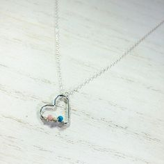 Sterling Silver Birthstone Heart Necklace.  Birthstone necklace.  Birthstone jewelry.  Family birthstone necklace.  Personalized necklace.