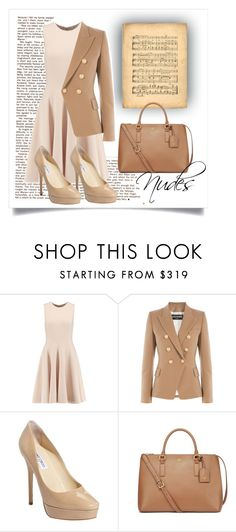 """""""Nudes"""" by chanlee-luv ❤ liked on Polyvore featuring Michael Kors, Balmain, Jimmy Choo, Tory Burch, women's clothing, women, female, woman, misses and juniors"""