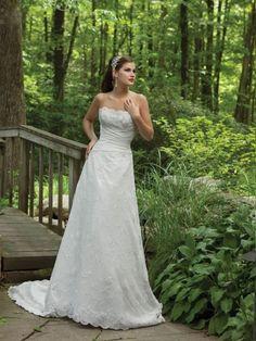 Satin Strapless A-line Wedding Dress