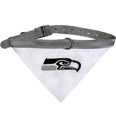 Let your furry football fan show their team spirit with this adorable NFL Licensed Seattle Seahawks dog bandana collar. - durable 100% nylon web striped collar - 100% Cotton Bandana with embroidered t