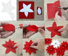 Best 12 DIY Christmas Poinsettia Felt Wreath « Simple, Sweet, and Southern – SkillOfKing. Poinsettia Flower, Christmas Poinsettia, Christmas Wreaths, Christmas Crafts, Christmas Ornaments, Christmas Paper, Felt Flowers, Diy Flowers, Fabric Flowers