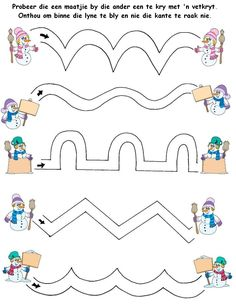 Grade R patterns Preschool Writing, Preschool Learning Activities, Preschool Worksheets, Preschool Activities, Kids Learning, Preschool Christmas, Christmas Activities, Community Helpers Preschool, Winter Activities For Kids