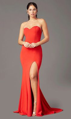 Strapless Sweetheart Long Prom Dress by PromGirl Prom Dresses Under 200, Strapless Prom Dresses, Tight Dresses, Sexy Dresses, Chiffon Dresses, Prom Gowns, Fall Dresses, Long Dresses, Formal Dresses