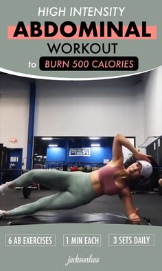 High Intensity Abdominal Workout To Burn 500 Calories Wanna burn 500 calories a day? Do this abdominal workout regularly. There are only 6 moves you must do for a minute. Repeat for a total. Fitness Workouts, Fitness Motivation, Abs Workout Routines, Workout Videos, Fun Workouts, Yoga Fitness, Health Fitness, Body Building Motivation, Crossfit Ab Workout