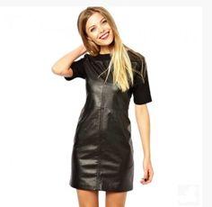 Fabulous Elegant Short Sleeve Black Summer Dress at Fabulous Leather 4 You. fabulousleather4you.com #blackleatherdress #babe #watches #VintageLeatherDress #sexy #northbeachleatehr #NineWestShoes #michaelhoban #littleblackdress #leatherdress #KennethCole