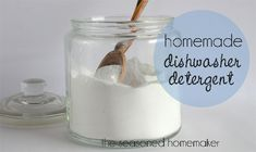 Homemade Dishwasher Detergent {for spot-free dishes}: All you need:  2 C. Borax  2 C. Baking Soda  6 oz. LemiShine (available at Target, Walmart, and most grocery stores)  Mix together. Use 1 T. per full load