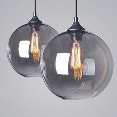 Loft Grey Glass Ceiling Vintage Retro Chandelier Fitting LED Pendant Lamp Light