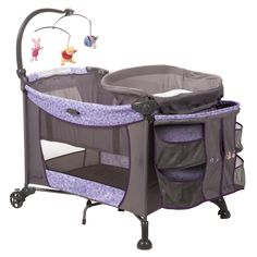 Create your little hunny's own Pooh's corner for naptime and playtime with this adorable purple Winnie the Pooh play yard that's spacious and easy to fold or transport when you and Baby are on-the-go.