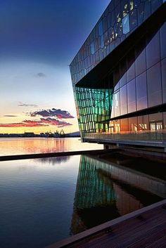 Reykjavik, Iceland: Harpa concert hall #iceland #europe #exploreeurope #reykjavik #visiticeland #traveliceland Iceland Travel, Reykjavik Iceland, Amazing Architecture, Modern Architecture, The Places Youll Go, Places To See, Iceland Island, Concert Hall, Modern Buildings