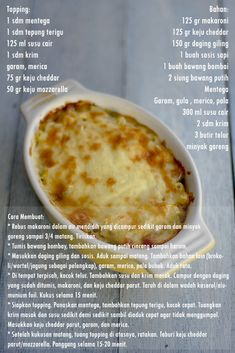 My Little Kitchen: Macaroni Schotel Snack Recipes, Dessert Recipes, Cooking Recipes, Cooking Tips, Macaroni Schotel Recipe, Macaroni Recipes, Pasta Recipes, Western Food, Food Garnishes