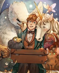 Newt Scamander - Fantastic Beasts and Where to Find Them Fanart Fanart Harry Potter, Harry Potter Star Wars, Arte Do Harry Potter, Yer A Wizard Harry, Harry Potter Fandom, Harry Potter Universal, Harry Potter World, Desenhos Harry Potter, Fantastic Beasts And Where