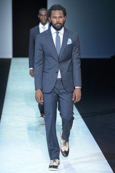 Giorgio Armani Men's RTW Spring 2014 slate blue suit