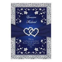 Navy Silver Floral Hearts FAUX Foil Wedding Invitations.  These invites are spectacular for a blue winter wedding.  Very romantic and pretty.