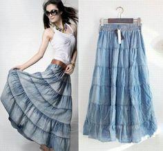 Bohemian Casual Big Hem Design Jean Long Skirt For Women