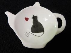 Cat Tea Bag Holder Kitty Cat Porcelain Ceramic Pottery Hand Painted & Kiln Fired Handmade