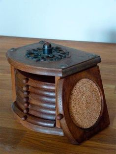 Vintage Wood and Cork Coaster Set with Storage Box. - I remember this from my childhood.