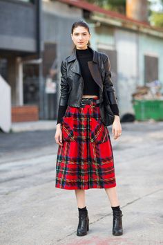 Winter classic: Red tartan skirt, street style during Australia Fashion Week Spring Summer Jupe Midi Tartan, Red Tartan Skirt, Plaid Skirts, Red Plaid, Midi Skirts, Pleated Skirt, Black Leather Biker Jacket, Leather Blazer, Moto Jacket