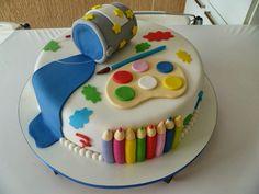 Muitas cores, lápis de cor, paredes riscadas, tintas jogadas de qualquer jeito sobre papeis, Muitas cores, lápis de cor, papeis riscadao, tintas, tudo colorido, do jeito que as crianças adoram. Ta aí, um tema de aniversário que eu simplesmente adoro e é a dica de hoje, com muitas Ideias para Festa Pintando o Sete.  Confira! Art Birthday Cake, Artist Birthday Party, Art Party Cakes, Cake Art, Bolo Grande, Artist Cake, School Cake, Cakes Plus, Painted Cakes