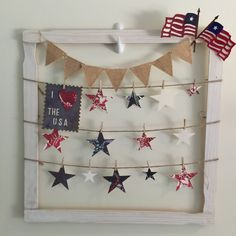 Sizzix Tim holtz die cut Anna griffin scrapbooking paper decoart paint flags stars patriotic home decor holiday decor pairofpetalof.com  I love the USA
