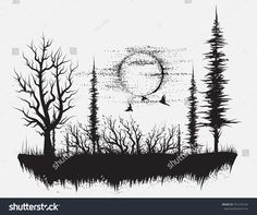 Strange forest.Silhouetteof trees. Hand drawn vector illustration