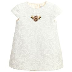 Dolce & Gabbana Baby Girls Ivory Jacquard Dress with Knickers  at Childrensalon.com