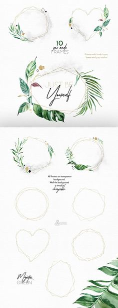 Majestic Green. Frames 2. Watercolor floral-geometric Frames
