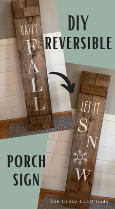 DIY Reversible Porch Sign. Farmhouse-style vertical porch board sign requires only basic woodworking skills.