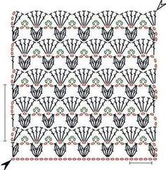 Crow's feet openwork crochet stitch pattern free! Crochet Stitches Chart, Granny Square Crochet Pattern, Crochet Diagram, Crochet Motif, Knitting Stitches, Crochet Patterns, Crochet Wool, Crochet Fashion, Stitch Patterns