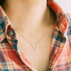 925 pointed Long V necklace